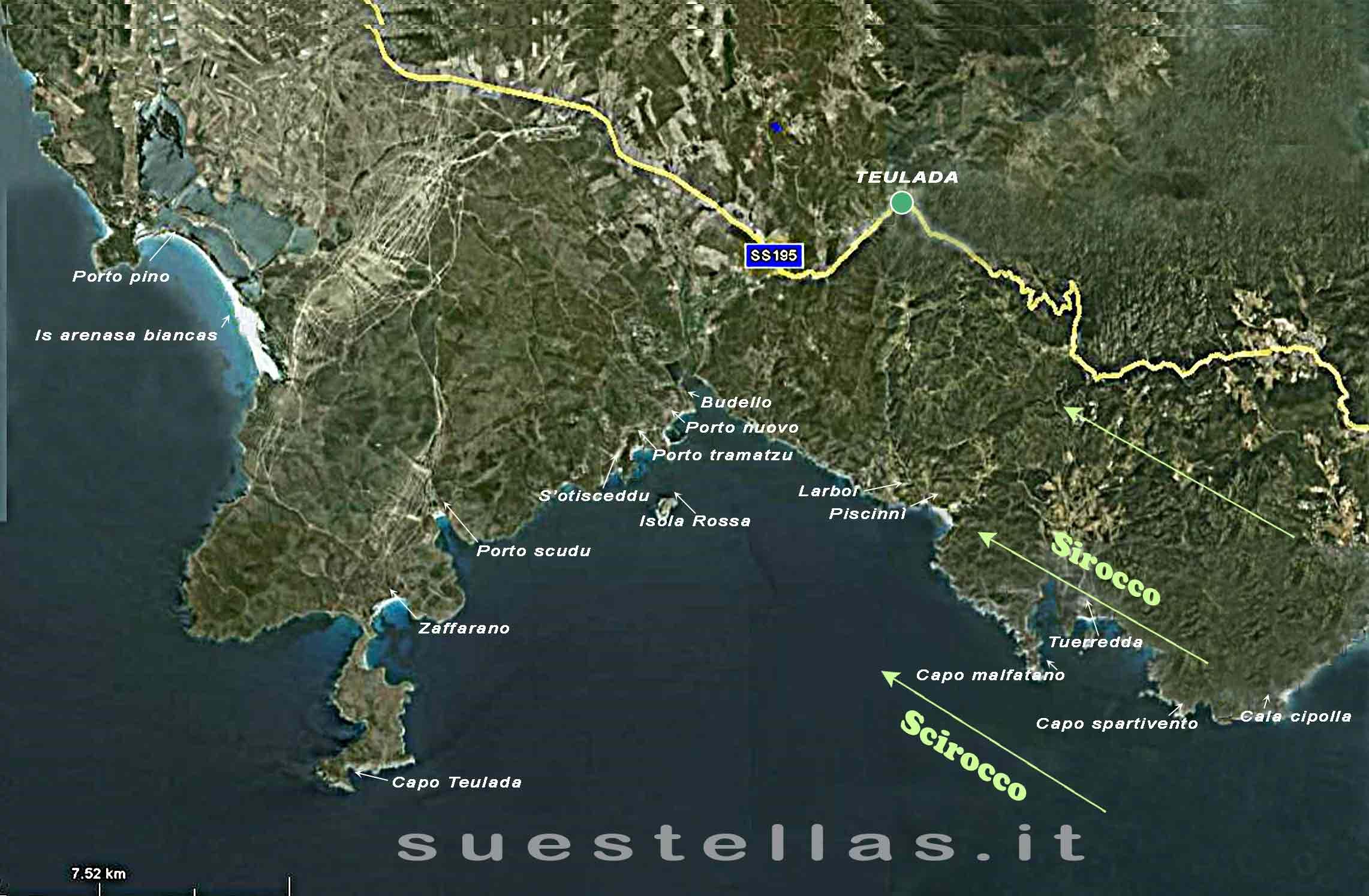 spiagge e calette riparate dallo scirocco nel golfo di Teulada - Sud Sardegna